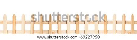Long wooden fence. All on white background. - stock photo