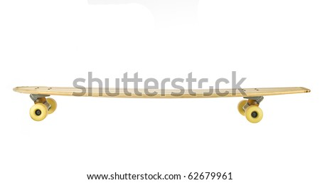 Long wooden skate board isolated on white - stock photo