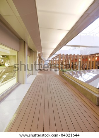 Long wooden walkway - stock photo
