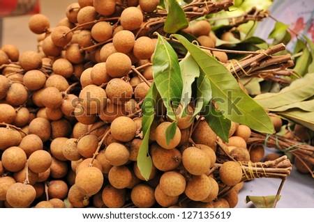 Longans of sweet taste,  Tropical fruit in market, - stock photo