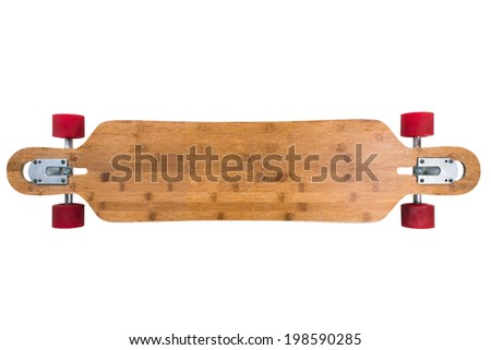 Longboard skateboard isolated on a white background. Just add your text  - stock photo