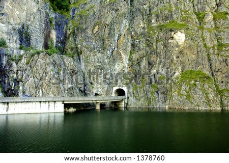 Longest tunnel in the mountains - stock photo