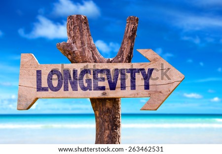 Longevity sign with a beach on background - stock photo