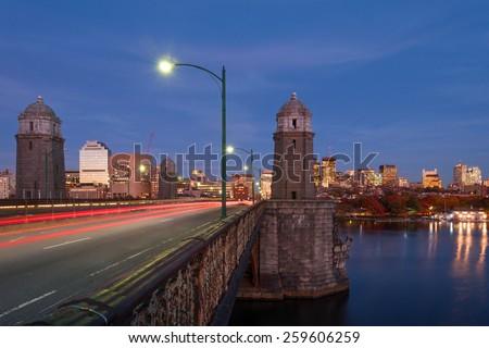 Longfellow bridge from Cambridge to Boston at night - stock photo