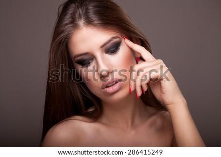 Longhaired brunette  - stock photo