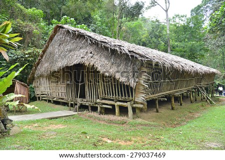 Longhouse In Sarawak, Malaysia - stock photo