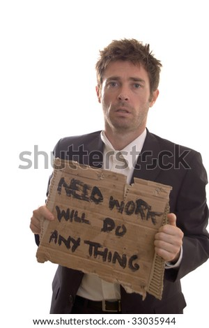 longing and despair showing on face of retrenched business man - stock photo