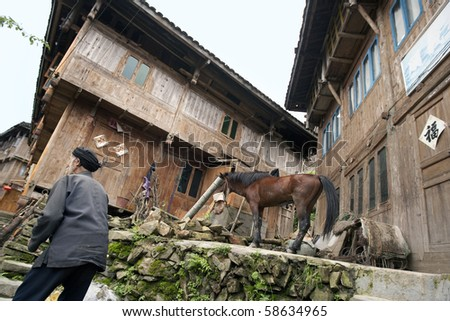 LONGJI, CHINA - MAY 22: A farmer walks past a horse outside the hill homes of the Yao ethnic minority people in Longji on May 22, 2010. The Longji terraced rice fields is a major tourist attraction.