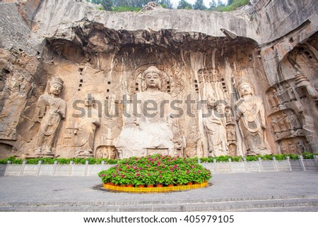 "Longmen Grottoes- Fengxiang temple stone Buddhas. It is a world cultural heritage. One of China's four most famous ""Buddhist Caves Art Treasure Houses"", is located Luoyang, Henan, China."