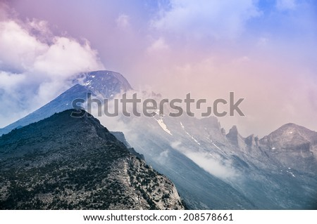 Longs Peak from the North, near Flattop Mountain- Rocky Mountain Colorado - stock photo