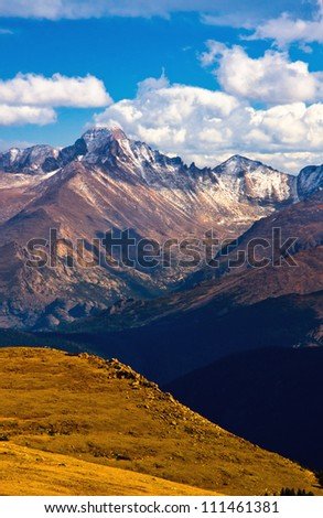 Longs Peak meets the heavens above in Rocky Mountain National Park, Colorado - stock photo