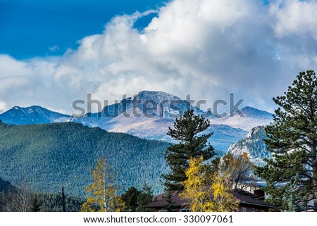Longs Peak viewed from Estes Park, Colorado in the fall. - stock photo