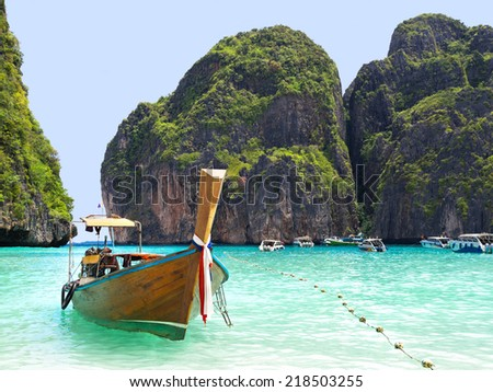 Longtail boat in Maya Bay, Ko Phi Phi island, Thailand. - stock photo