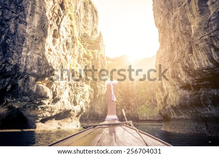 Longtail boat in Phi Phi island bay - Travel background - stock photo