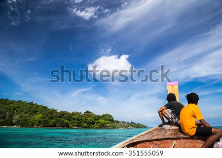 Longtail Boat Transport to Ko Phi Phi Resort. Thailand - stock photo