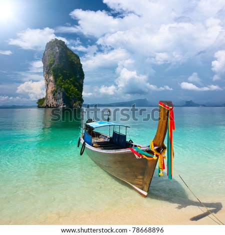 Longtail near Poda island, Krabi province, Thailand - stock photo