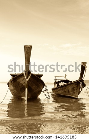 Longtail, the traditional Thai boat - stock photo