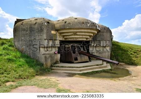 Longues-sur-Mer World War II Gun Battery, Normandy, France - stock photo