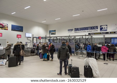 LONGYEARBYEN, NORWAY -  NOVEMBER 3:Interior of Svalbard Airport on november 3, 2014 in Longyearbyen. The airport has biggest passenger flow in Svalbard, Norway. - stock photo