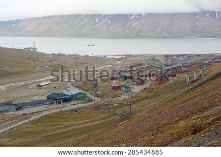 LONGYEARBYEN, NORWAY - SEPTEMBER 01, 2011: View to the town of Longyearbyen, Norway.