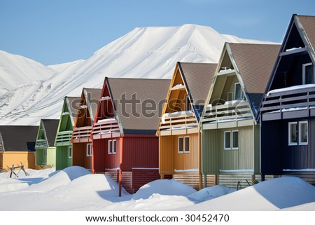 Longyearbyen, Norway, the worlds northern most city. - stock photo