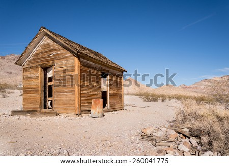 Lonly and deserted cabiin in the desert of Death Valley National Park - stock photo