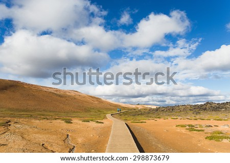 Lonly path and great landscape in the Geothermal Area Hverir, Iceland. - stock photo