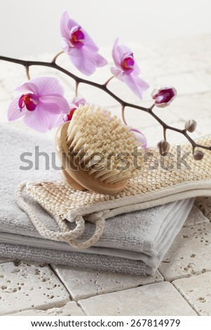 loofah, brush and towel for hydration and purity - stock photo