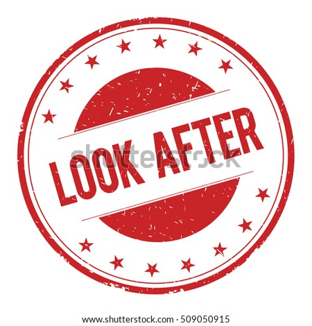 LOOK-AFTER stamp sign text word logo red.