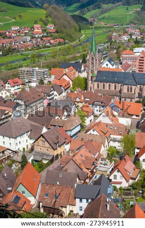 Look at Hausach with the church Saint Mauritius, Hausach, Black Forest, Baden-Wurttemberg, Germany, Europe - stock photo