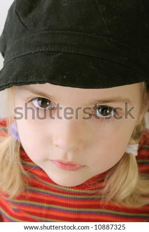 look at me - cloosup toddler girl - stock photo