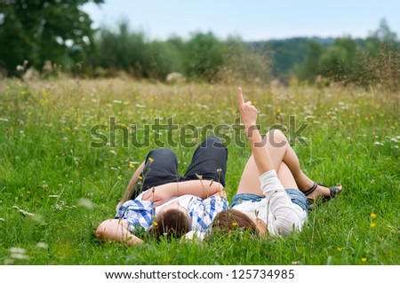 Look at the sky! - stock photo