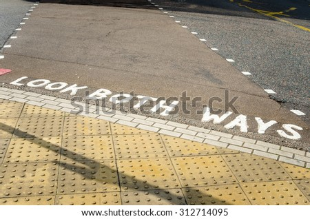 Look Both Ways. Pedestrian Crossing Sign in London - stock photo