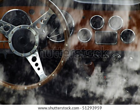 Look by the rear window in the cockpit of a sports-car - stock photo