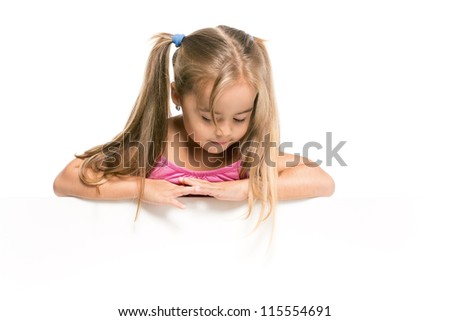 look down cute girls - stock photo