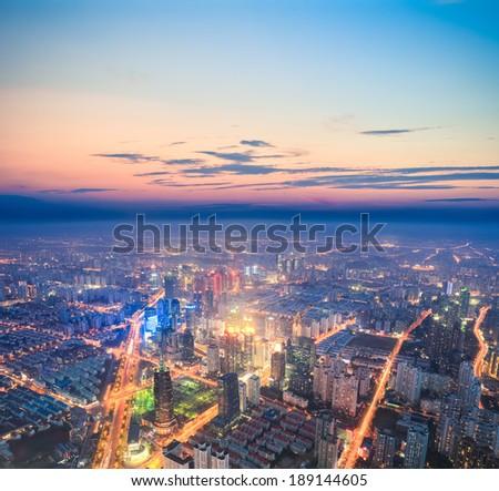 look down from above urban nightfall scene in shanghai  - stock photo