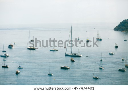 Look from above at ships and yachts in the sea
