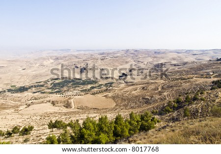 """Look from """"Mount Nebo"""" hill, place of Moses grave, to the valley - stock photo"""