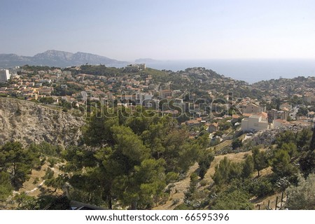 Look from Notre Dame de la Garde via Marseille - stock photo