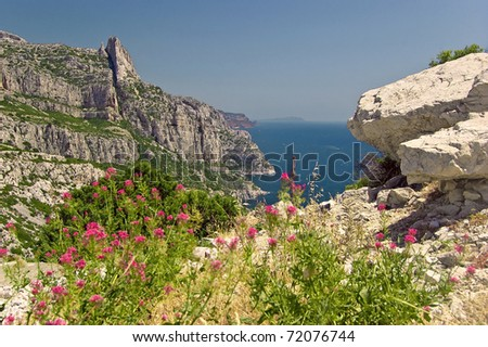 Look from the Calanques Sugiton along the coast - stock photo