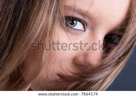 Look from within. Woman portrait closeup. - stock photo