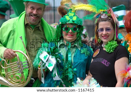 Look! Green partners in St.Patrick parade! 2006 - stock photo