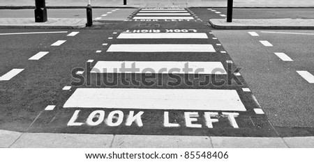 Look Left sign in a London street - stock photo