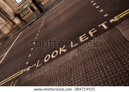 Look left sign on a London street sign - stock photo