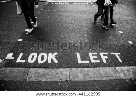 Look left sign on the street in London - stock photo
