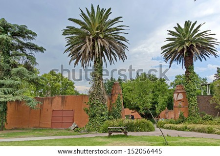 Look of walk, Palm-trees and animals buildings in Johannesburg zoo, South Africa - stock photo