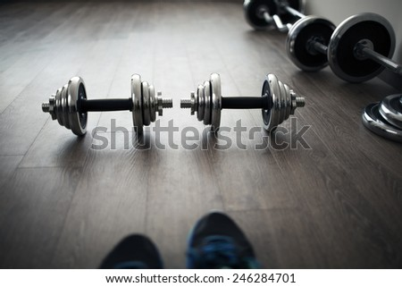 look on fitness equipment like own eyes - stock photo