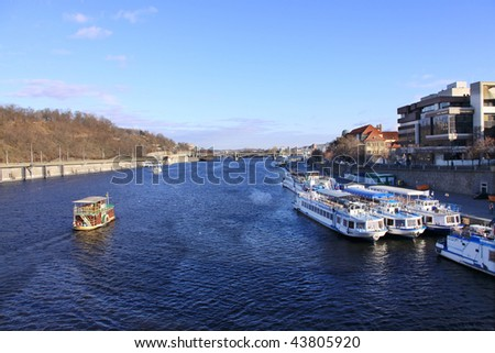 Look on Prague River Vltava with Boats