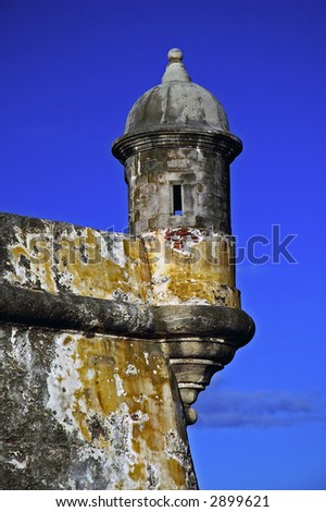 Look out on the walls of El Morro in Puerto Rico - stock photo