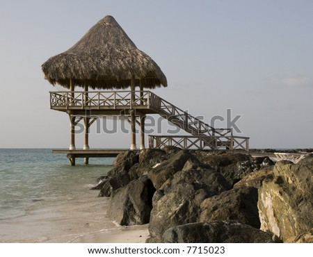 Look Out Post on Punta Cana beach - stock photo